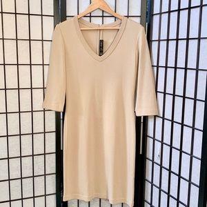 St John Tan Knit V-Neck Dress 6